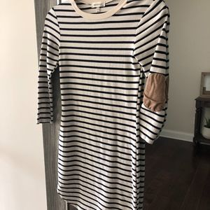 Striped Dress with Faux Suede Elbow Patch